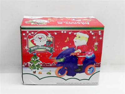 Light music universal electric motorcycle ride Santa Claus