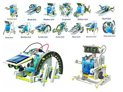 13 in one solar powered robot (self loading toy)