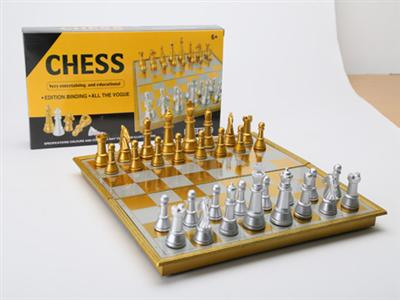 Folding magnetic gold and silver chess