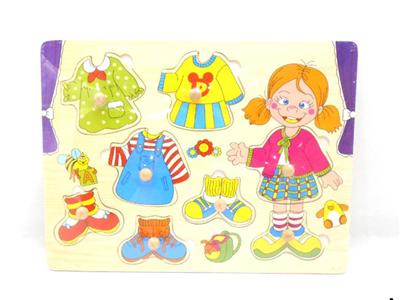 Wooden girl dress up wooden nails hand grip puzzle