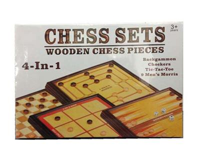 (4 in 1) wooden game chess set