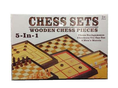 (5 in 1) wooden game chess set