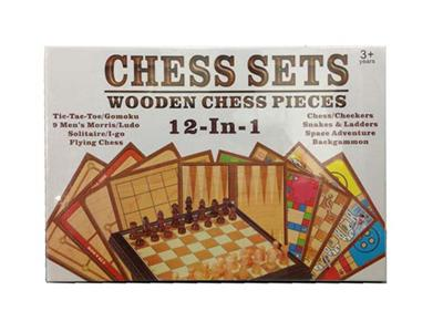 (12 in 1) wooden game chess set