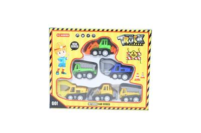 6 color box pull back cartoon engineering car