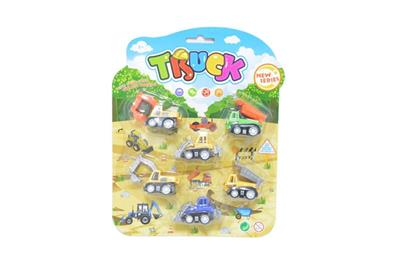6 suction cups pull back cartoon engineering vehicle