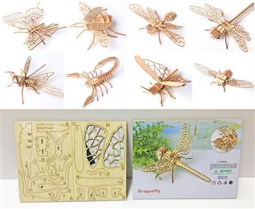 Wooden 3D assembled insects