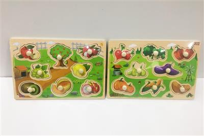 Wooden trumpet fruit and vegetable grab board puzzle