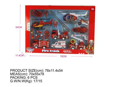 Window Box (Fire Series) Inertial Fire Truck Short Ladder with IC Package Electricity Fire Truck 2 Boat Large Aircraft Medium Aircraft Speedboat Motor Ambulance Fireman and Fire Fighting Equipment