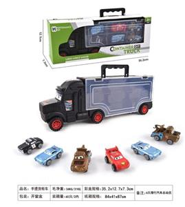 Portable container sliding tractor with 6 car general mobilization (buck teeth)